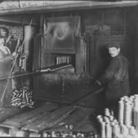 Vermont Farm Machine Company. Artist's Sketch of Plant. WW1. 4/5/1916. Heat Treating Shells.