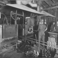 Vermont Farm Machine Company. Artist's Sketch of Plant: WW1. 4/5/1916. Heat Treating Shells.