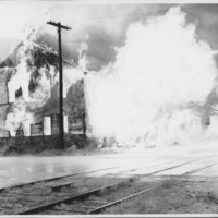 Removal of the B. and M. Freight House by Burning and as a Fire Fighter's Training Exercise. 7/12/1975. Explosion on West Side.