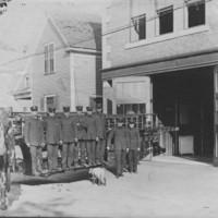 Ladder Truck, Horses, Crew, Mascot. B.F.F.D. 8/18/1911