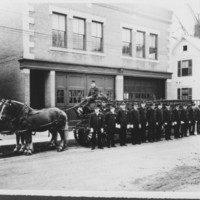 Ladder Truck, Crew, Horses. B.F.F.D.
