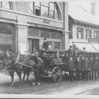 Chemical Truck, Crew, Horses, Dog. B.F.F.D. 1909
