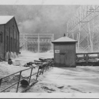 Flood: November, 1927. Flow Through Mills & Yard.