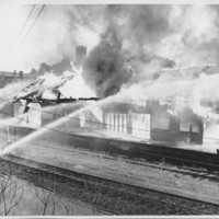 Removal of the B. and M. Freight House by Burning and as a Fire Fighter's Training Exercise. 7/12/1975. South End Collapse.