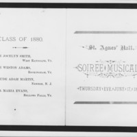 St. Agnes Hall Program Cover. 6/17/1880.