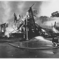 Removal of the B. and M. Freight House by Burning and as a Fire Fighter's Training Exercise. 7/12/1975. Final Collapse.