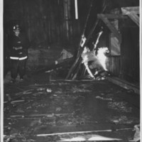 Removal of the B. and M. Freight House by Burning and as a Fire Fighter's Training Exercise. 7/12/1975. Fire Set In Southwest Corner.