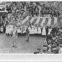 Flag &amp; Flag Bearers Led By Shorty Smith. 1913.<br /><br />