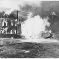 Removal of the B. and M. Freight House by Burning and as a Fire Fighter's Training Exercise. 7/12/1975. Second Explosion.