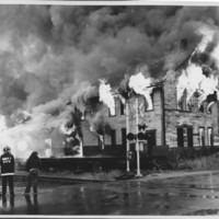 Removal of the B. and M. Freight House by Burning and as a Fire Fighter's Training Exercise. 7/12/1975. Building Fully Involved.