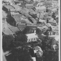 Bellows Falls, VT. Aerial view of Mills and Baptist Church.