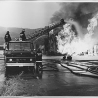 Removal of the B. and M. Freight House by Burning and as a Fire Fighter's Training Exercise. 7/12/1975. The Aerial.