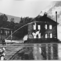 Removal of the B. and M. Freight House by Burning and as a Fire Fighter's Training Exercise. 7/12/1975. North End.