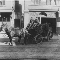 Chemical Truck, Crew, Horses. B.F.F.D. 1909