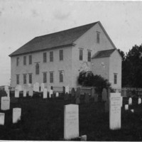 Rockingham Meeting House - North End and Rear Across Cemetery.