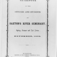 Saxtons River Seminary Catalogue. 1852.